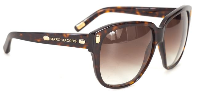 MARC JACOBS Brown Tortoise Rectangle Acetate Frame Gradient Lens Sunglasses