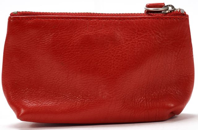 MARC JACOBS Red Leather Silver Clasp Coin Pouch Wallet