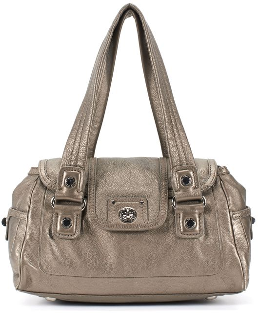 MARC JACOBS Pewter Silver Metallic Pebbled Grain Leather Flap Shoulder Bag