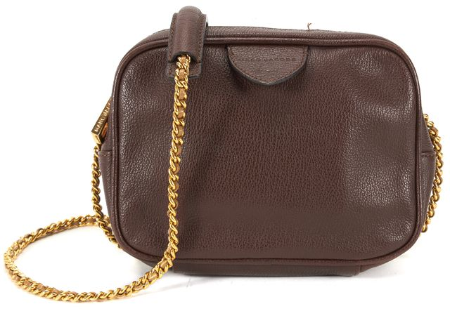 MARC JACOBS Burgundy Pebbled Leather Gold Chain Small Crossbody
