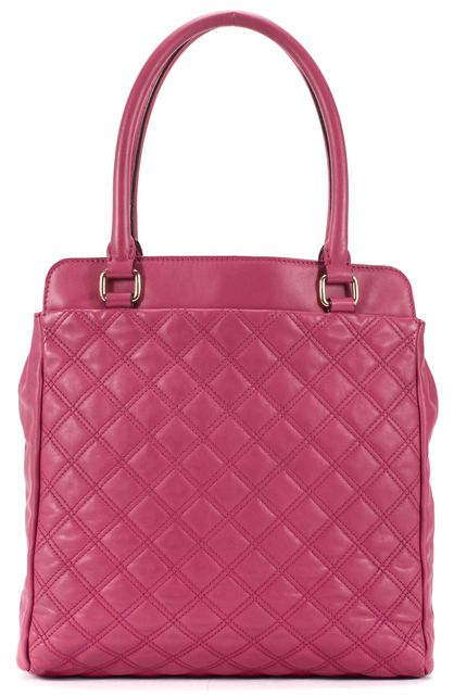 MARC JACOBS Pink Quilted Leather Gold Buckle Detail Tote