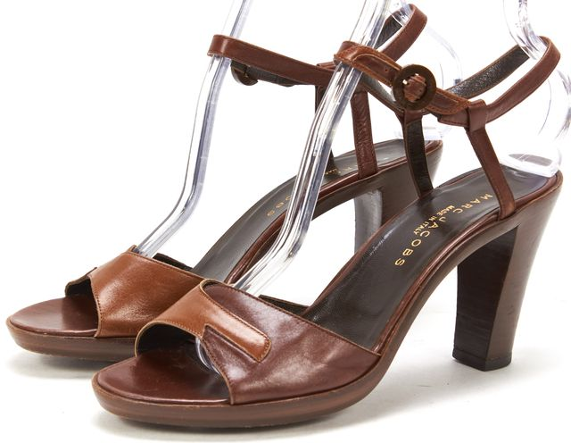 MARC JACOBS Brown Tan Leather Heeled Ankle Strap Sandals