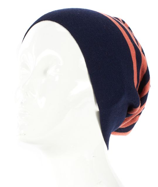 MARC JACOBS Pink Navy Blue Striped Slouchy Beanie Hat