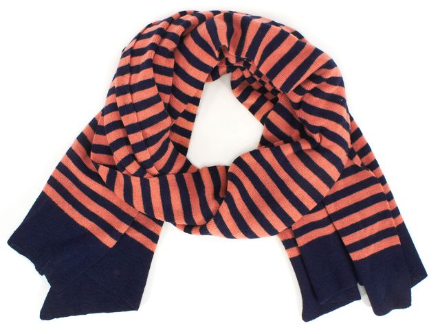 MARC JACOBS Navy Pink Striped Wool Winter Scarf
