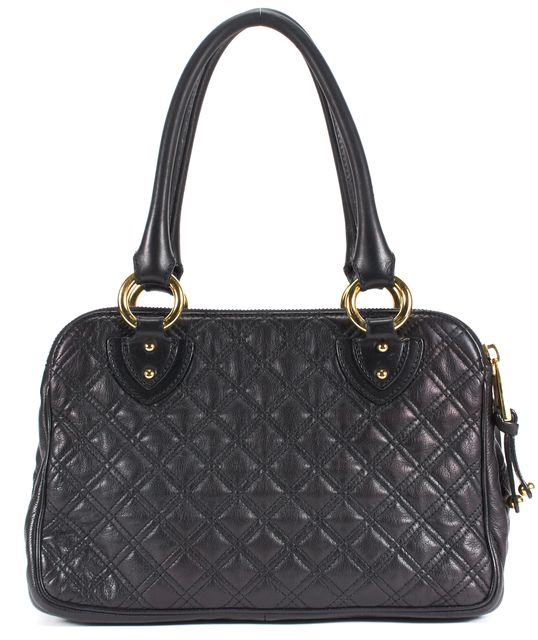 MARC JACOBS Black Quilted Leather Gold Hardware Satchel Bag