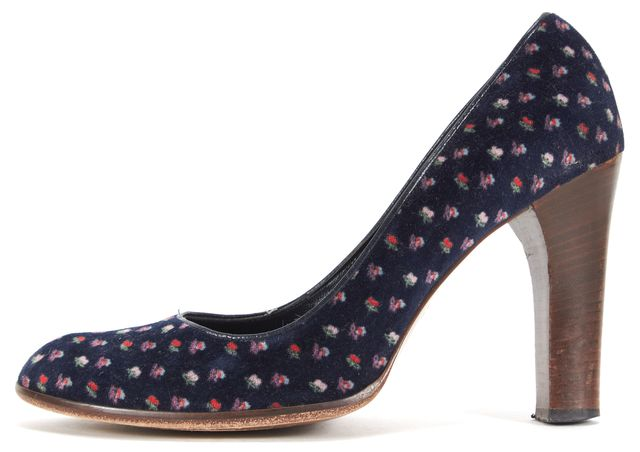 MARC JACOBS Blue Pink Floral Print Velour Round Toe Pump Heels