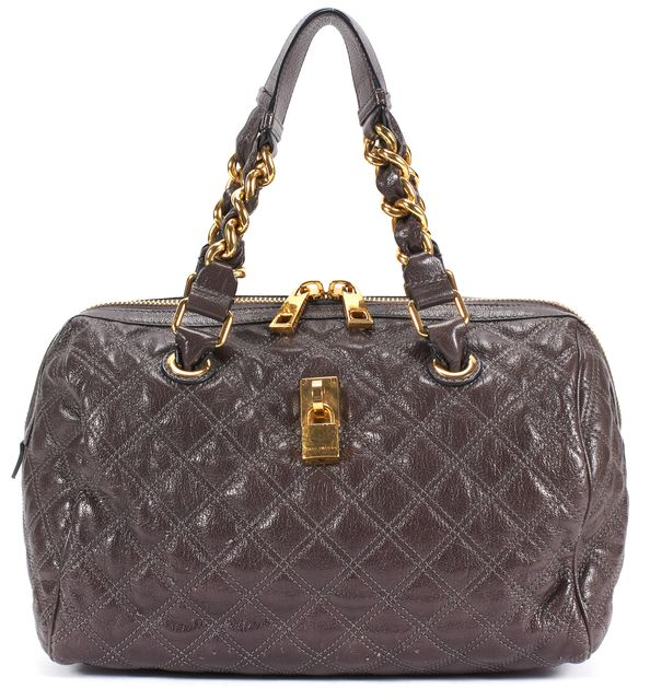 MARC JACOBS Leather Brown Geometric Top Handle Bag