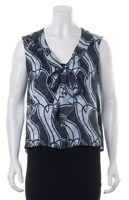 MARC JACOBS Green Blue White Abstract Print Tie Neck Silk Blouse Top