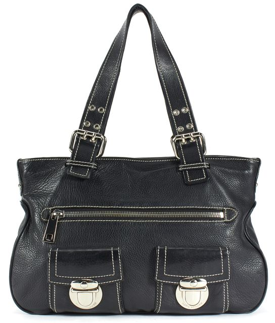 MARC JACOBS Black Pebbled Leather Silver Hardware Shoulder Bag