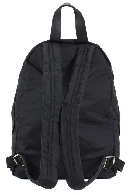 MARC JACOBS Black Nylon Pebbled Leather Trim Backpack