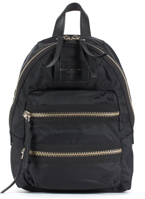 MARC JACOBS Black Nylon Pebbled Leather Trim Backpack