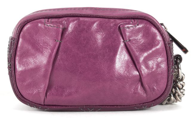 MARC JACOBS Purple Leather Silver Chain Wristlet