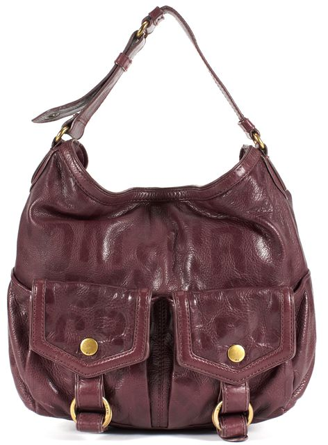 MARC JACOBS Burgundy Pebbled Leather Front Double Magnetic Pockets Hobo Bag