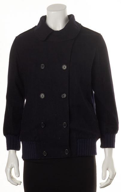 MARC JACOBS Navy Blue Wool Double Breasted Basic Jacket