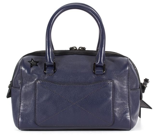 MARC JACOBS Blue Black Silver Star Cut Out Leather Suede Trim Top Handle Bag