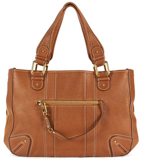 MARC JACOBS Tan Brown Pebble Grain Leather Top Handle Shoulder Bag