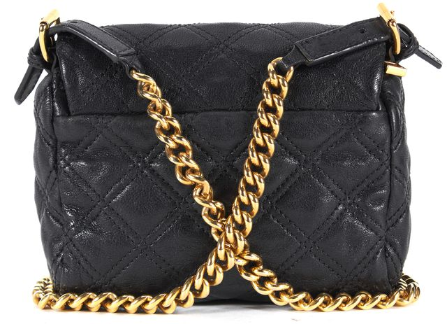 MARC JACOBS Black Quilted Leather Gold Chain Strap Small Crossbody Bag