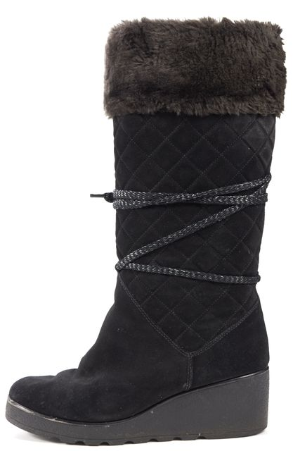 MARC JACOBS Black Quilted Suede Fur Lined Wedged Knee-High Boots