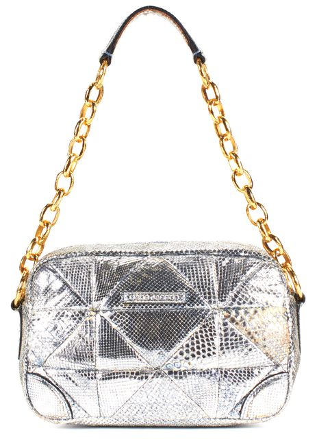 MARC JACOBS Silver Quilted Python Leather Chain Strap Shoulder Bag