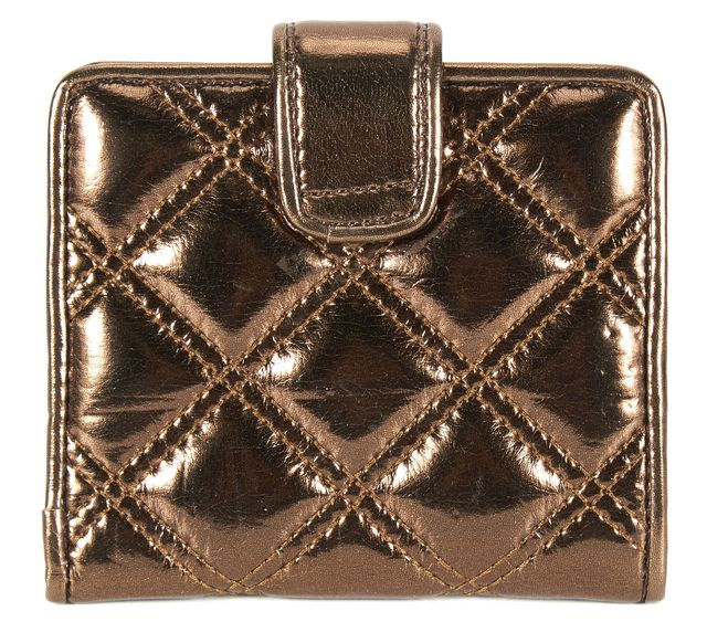 MARC JACOBS Metallic Brown Quilted Vinyl Small Wallet