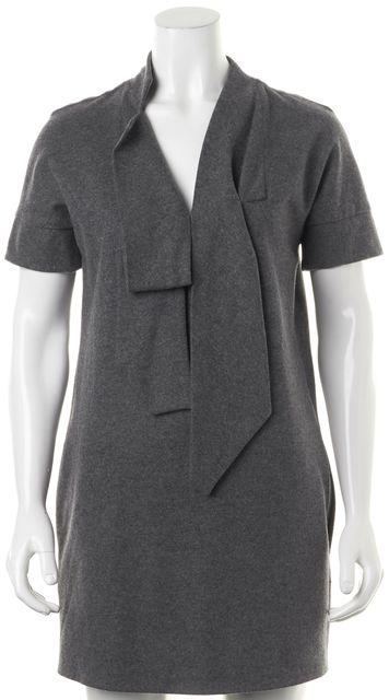 MARC JACOBS Gray Wool Short Sleeve Tie Neck Shift Dress