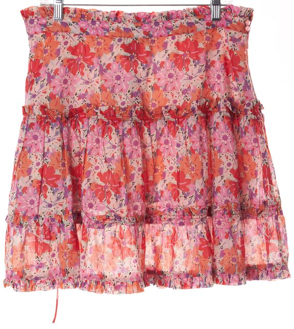 MARC JACOBS Red Pink Purple Floral Print A-Line Skirt