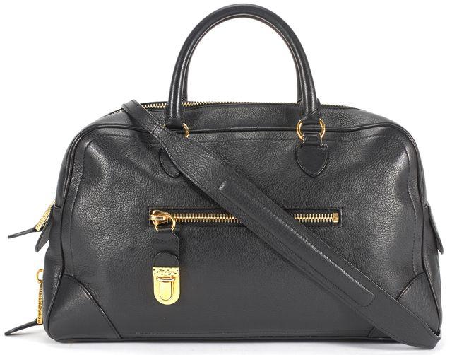 MARC JACOBS Black Leather Gold Hardware Venetia Bowling Satchel Bag
