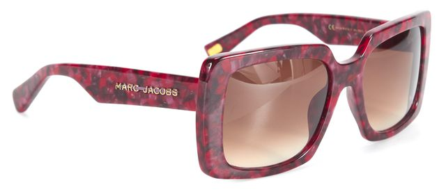 MARC JACOBS Red Purple Acetate Gradient Lenses Oversized Square Frame Sunglasses