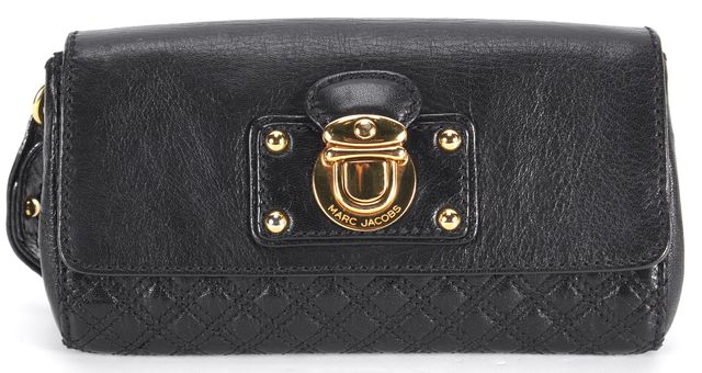 MARC JACOBS Black Quilted Leather Gold-Tone Hardware Wristlet