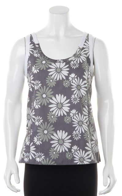 MARC JACOBS Gray Daisy Floral Printed Cotton Sleeveless Tank Top Blouse