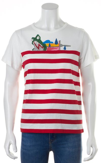 MARC JACOBS White Red Green Striped Glittery Frog Embellished T-Shirt