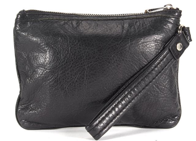 MARC JACOBS Solid Black Front Pocket Leather Clutch
