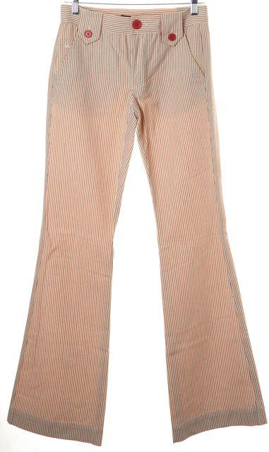 MARC JACOBS Beige Red Blue Pinstripe Cotton Wide Leg Trouser Pants