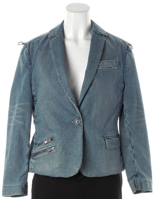 MARC JACOBS Blue Cotton Single Button Blazer Style Jean Jacket