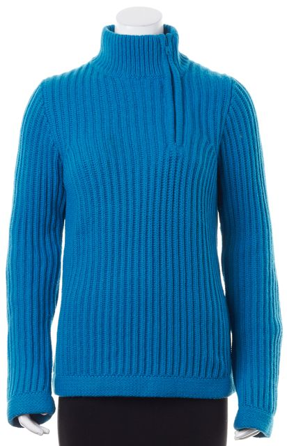 MARC JACOBS Bright Blue 1/2 Side Zip Medium Knit Sweater