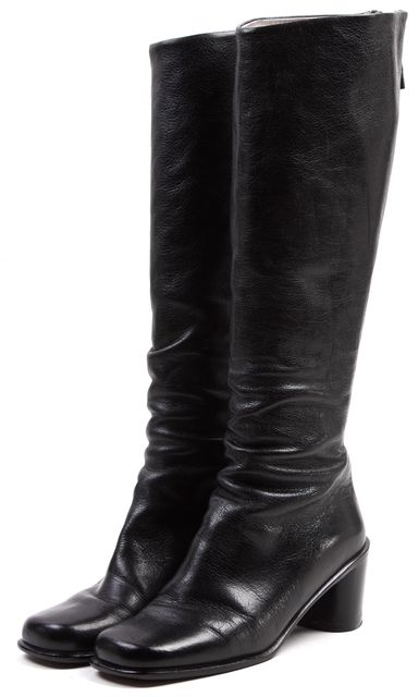MARC JACOBS Black Solid Leather Knee-High Tall Platform Boots