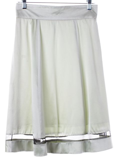 MARC JACOBS Seafoam Green Silk Mesh Panel A-Line Skirt