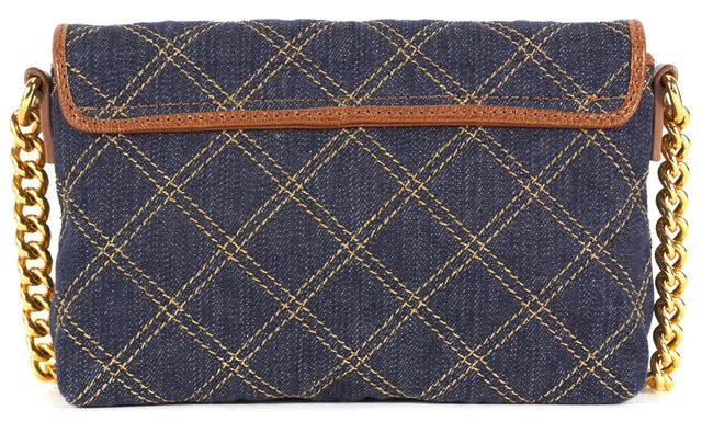 MARC JACOBS Blue Gold Quilted Denim Canvas Brown Leather Trim Crossbody Bag