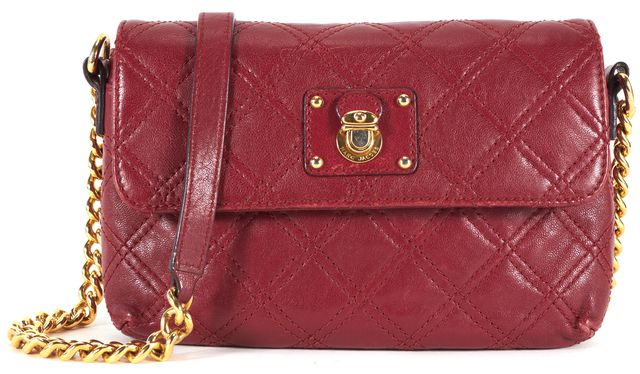 MARC JACOBS Red Quilted Leather Chain Strap Crossbody Shoulder Bag