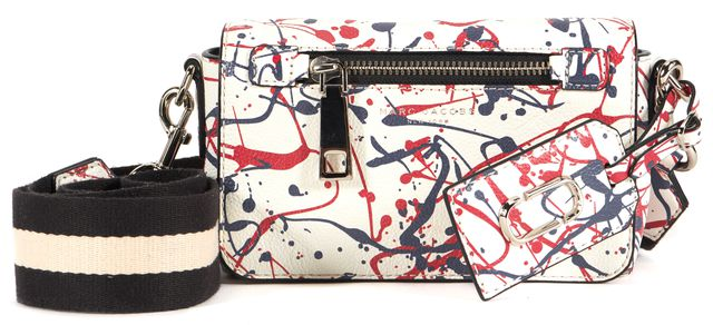MARC JACOBS Red White Blue Leather Splatter Paint Flap Crossbody