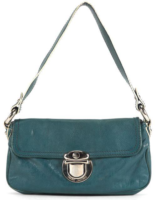 MARC JACOBS Dark Teal Blue Leather Silver Hardware Shoulder Bag
