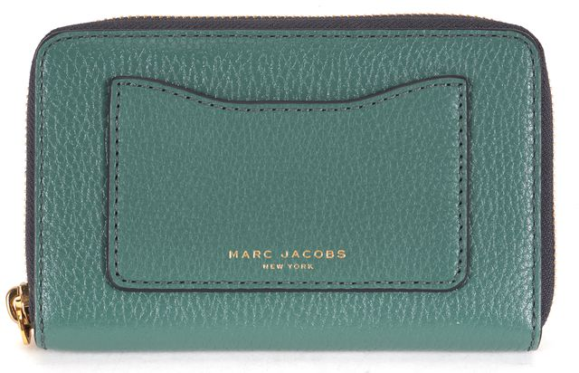 MARC JACOBS Pine Green Leather Gold Hardware Wristlet Wallet