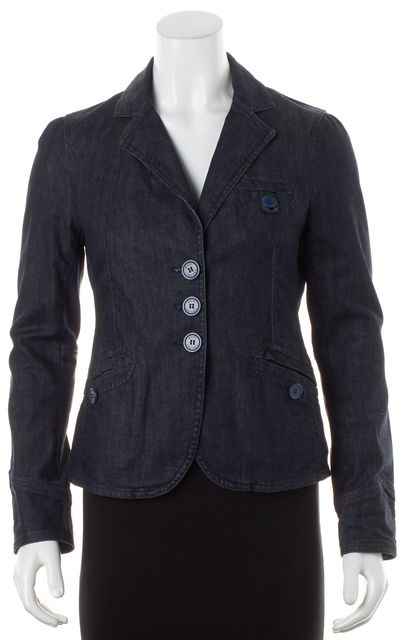 MARC JACOBS Blue Stretch Cotton Pocket Front Dark Wash Jean Jacket