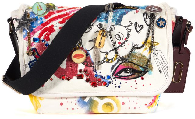 MARC JACOBS White Multi-Color Collage Printed Canvas Messenger Crossbody Bag