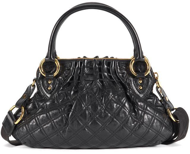 MARC JACOBS Black Quilted Leather Cecelia Satchel Shoulder Bag