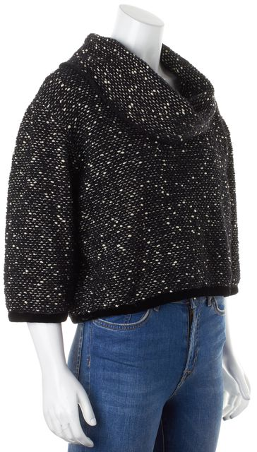 MARC JACOBS Black Beige Wool Mohair Boucle Knit Cropped Cowl Neck Sweater