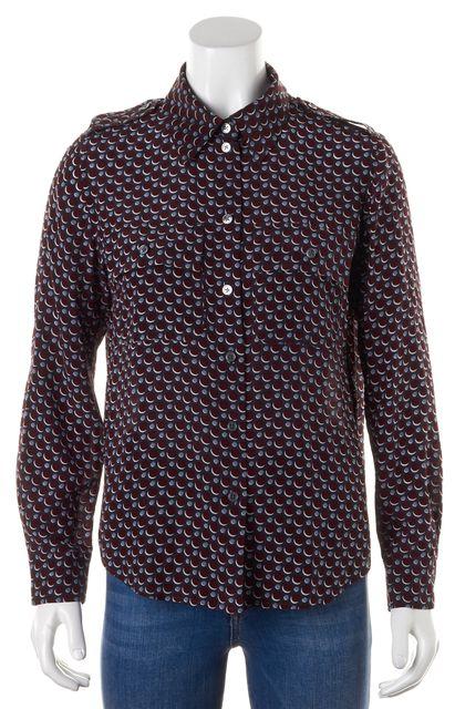 MARC JACOBS Navy Blue Red Geometric Button Down Shirt Top