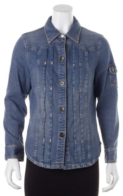 MARC BY MARC JACOBS Blue Denim Embroidered Pleated Button Down Shirt