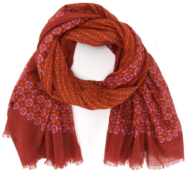 MARC JACOBS Red Orange Purple Floral Cotton Large Scarf