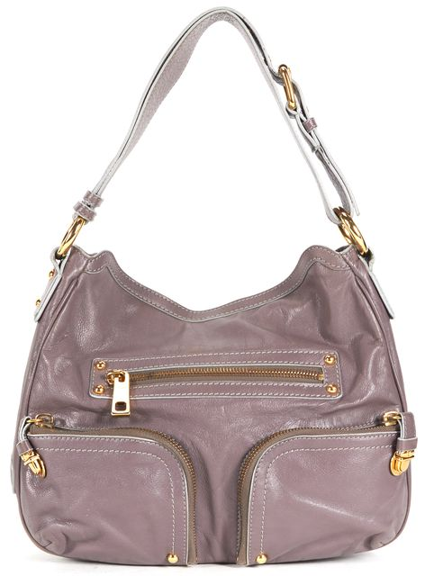 MARC JACOBS Dusty Purple Leather Three Front Pocket Shoulder Bag